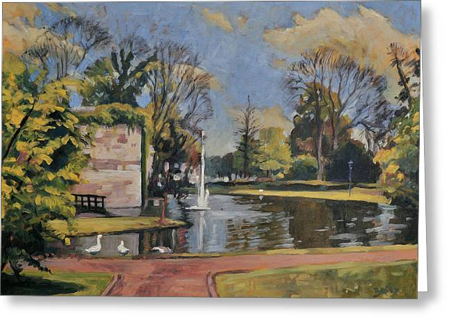 Limburg Paintings Greeting Cards - City Park Maastricht Greeting Card by Nop Briex