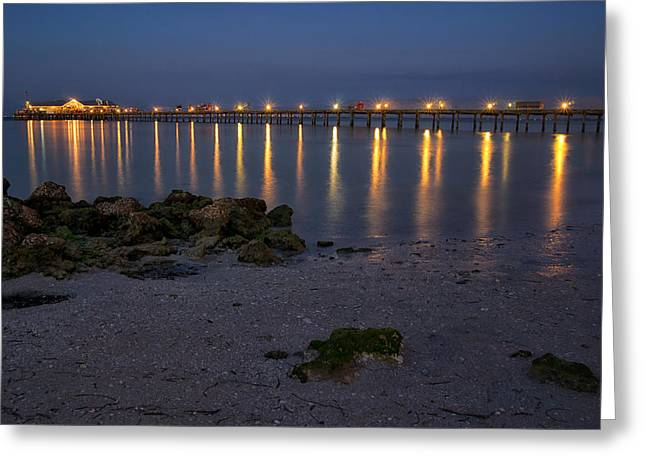 City Pier Greeting Cards - City Pier at Night Greeting Card by Darylann Leonard Photography