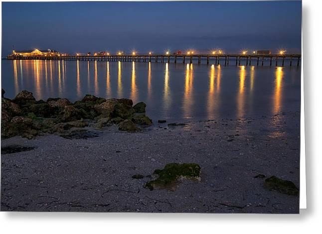 City Pier At Night Greeting Card by Darylann Leonard Photography