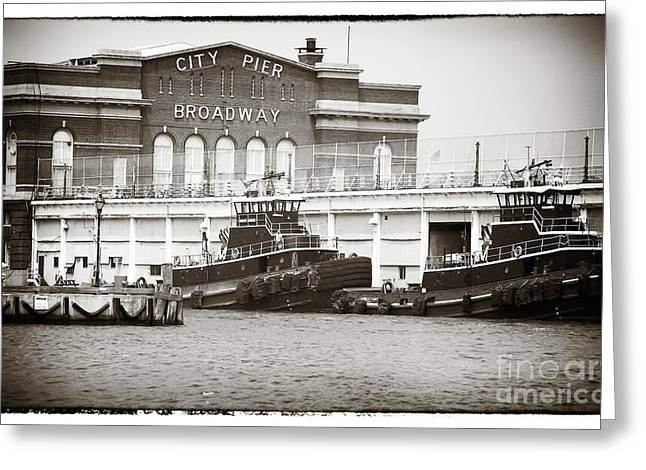 City Pier Greeting Cards - City Pier Broadway Greeting Card by John Rizzuto
