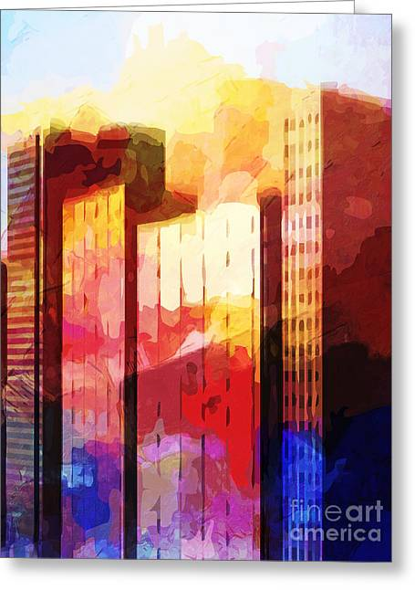 City Buildings Mixed Media Greeting Cards - City Pop Greeting Card by Lutz Baar
