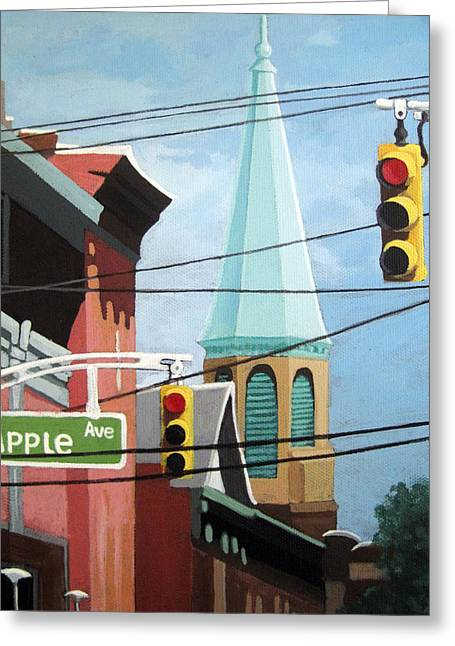 Linda Apple Paintings Greeting Cards - City Power architecture high wires city tower Greeting Card by Linda Apple