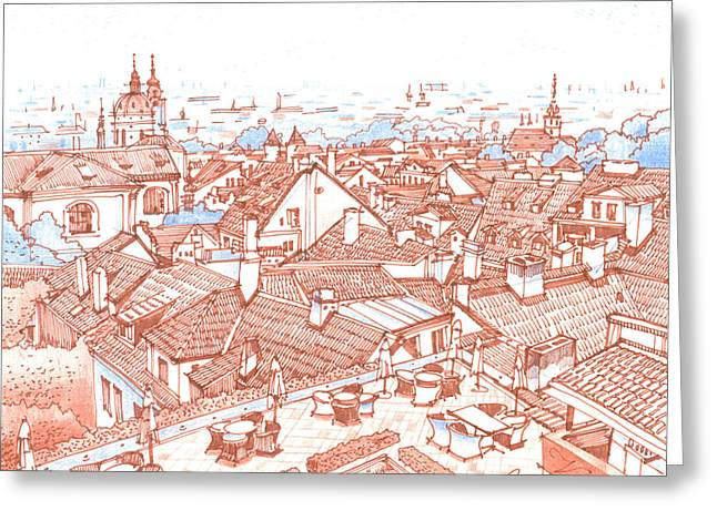 Fog Mist Drawings Greeting Cards - City. Prague Greeting Card by Olga Sorokina