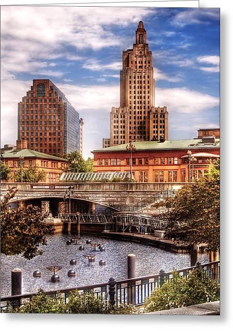 Rood Greeting Cards - City - Providence RI - The Skyline Greeting Card by Mike Savad