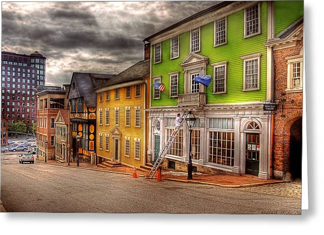 City - Providence RI - Thomas Street Greeting Card by Mike Savad