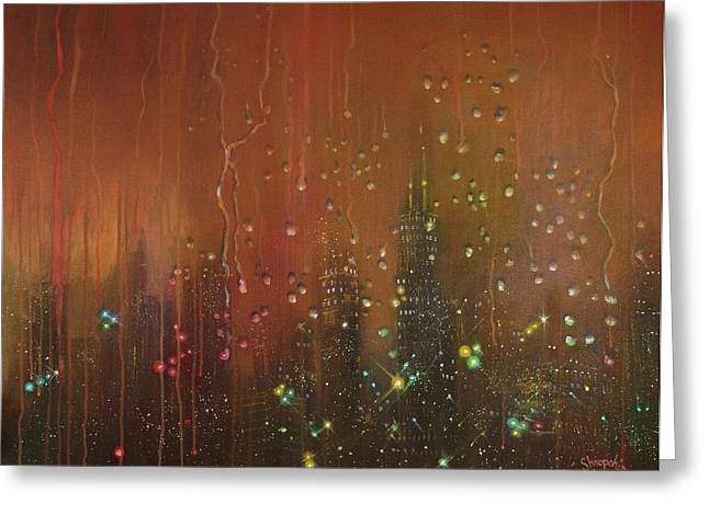 City Lights Greeting Cards - City Rain Against the Window Greeting Card by Tom Shropshire