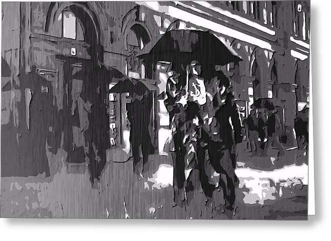 City Rain Greeting Card by Dan Sproul