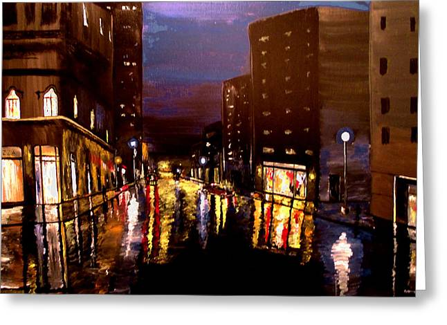 City Rain Greeting Card by Mark Moore