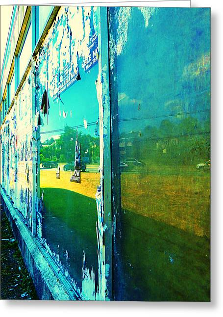 Playbill Greeting Cards - City Reflection Greeting Card by Laurie Tsemak