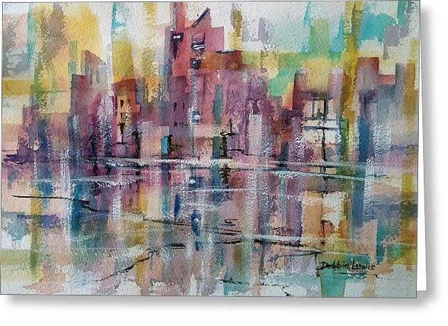 Imaginary City Greeting Cards - City Reflections Greeting Card by Debbie  Lewis
