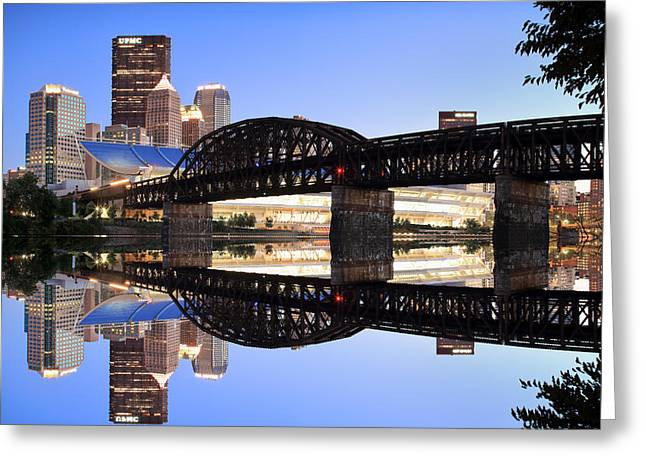 Pnc Park Greeting Cards - City Reflections  Greeting Card by Emmanuel Panagiotakis