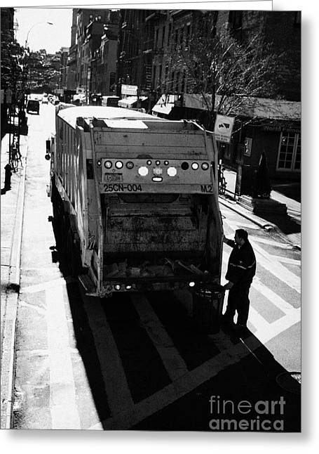 Manhatan Greeting Cards - City Refuse Worker Checks The Back Of A Garbage Truck On A Cross Walk Bleeker St Greenwich Village Greeting Card by Joe Fox
