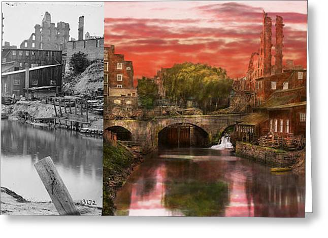 Civil Greeting Cards - City - Richmond VA - After the fighting stopped - 1865 - Side by side Greeting Card by Mike Savad