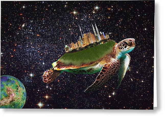 Imaginary City Greeting Cards - City Riding through Space Greeting Card by Bruce Iorio