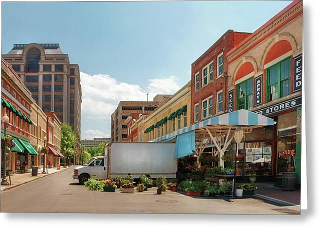 Store Fronts Greeting Cards - City - Roanoke VA - The City Market Greeting Card by Mike Savad