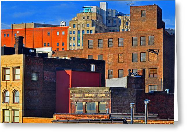 Urban Buildings Greeting Cards - City Roof Tops Greeting Card by Peter  McIntosh