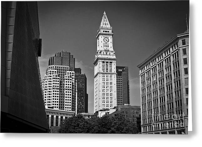 Boston Ma Greeting Cards - City Scape Boston Custom House Clock Tower Greeting Card by Jason Moynihan