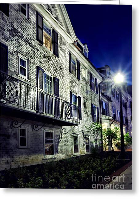Streetlight Greeting Cards - City Scene At Night Greeting Card by HD Connelly
