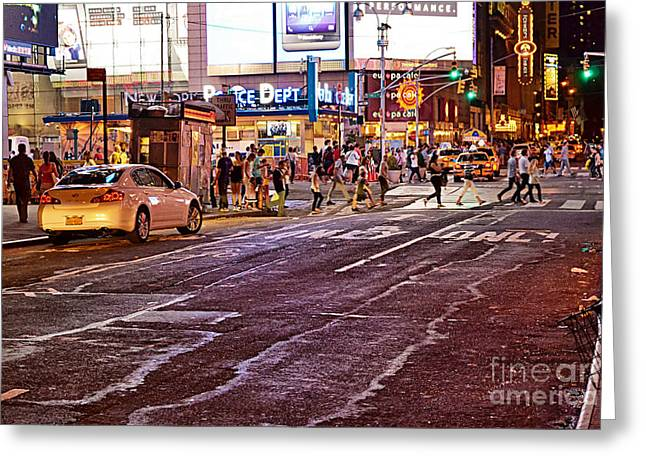 Police District Greeting Cards - City Scene - Crossing the Street - the Lights of New York Greeting Card by Miriam Danar