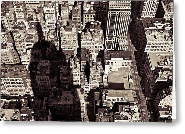 From Above Greeting Cards - City Shadow Greeting Card by Dave Bowman