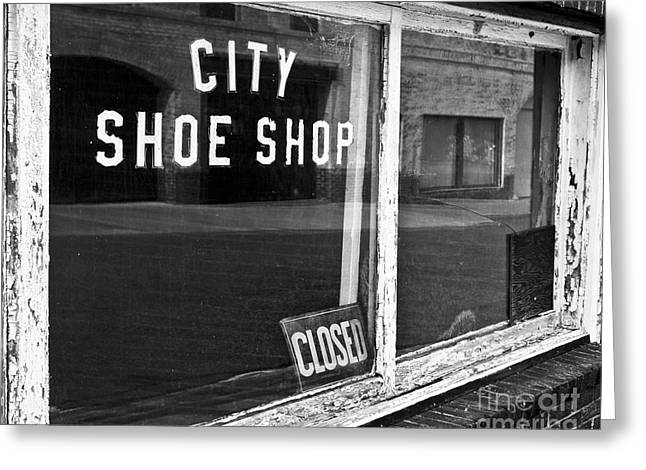 Shoe Repair Greeting Cards - City Shoe Shop 2 Greeting Card by Patrick M Lynch