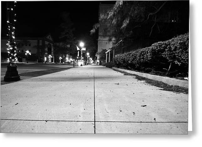 Streetlight Greeting Cards - City Sidewalk At Night Greeting Card by Dan Sproul