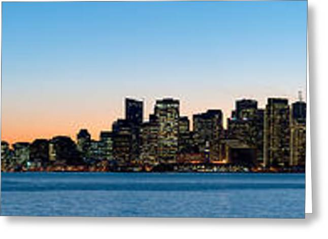 San Francisco Images Greeting Cards - City Skyline And A Bridge At Dusk, Bay Greeting Card by Panoramic Images