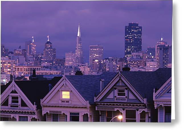 In-city Greeting Cards - City Skyline At Night, Alamo Square Greeting Card by Panoramic Images