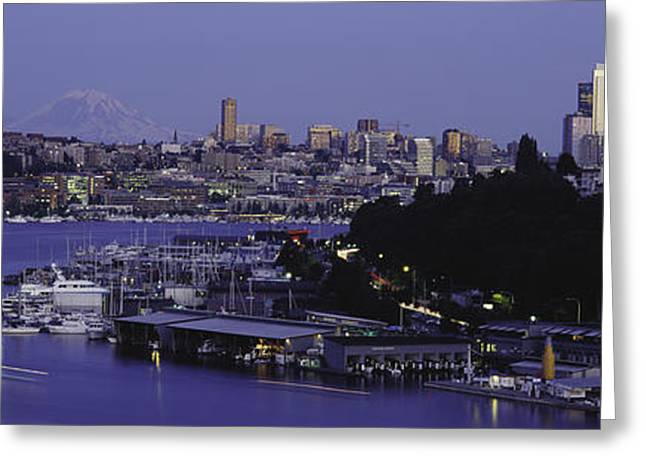Lake Union Greeting Cards - City Skyline At The Lakeside With Mt Greeting Card by Panoramic Images