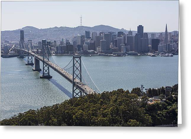 Oblique Greeting Cards - City Skyline From Yerba Buena Island Greeting Card by Dave Cleaveland