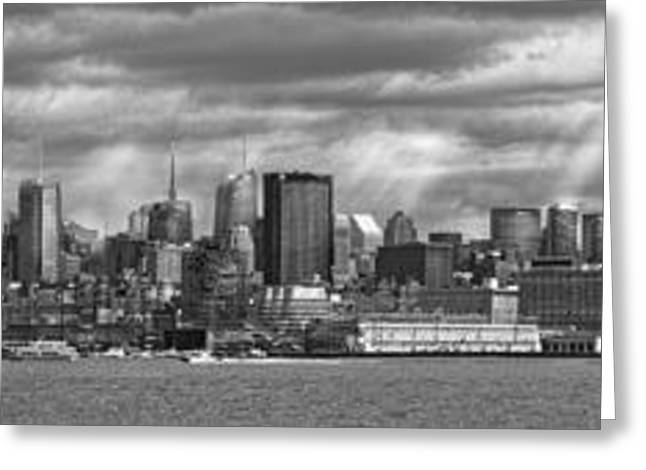 White River Scene Greeting Cards - City - Skyline - Hoboken NJ - The ever changing skyline - BW Greeting Card by Mike Savad