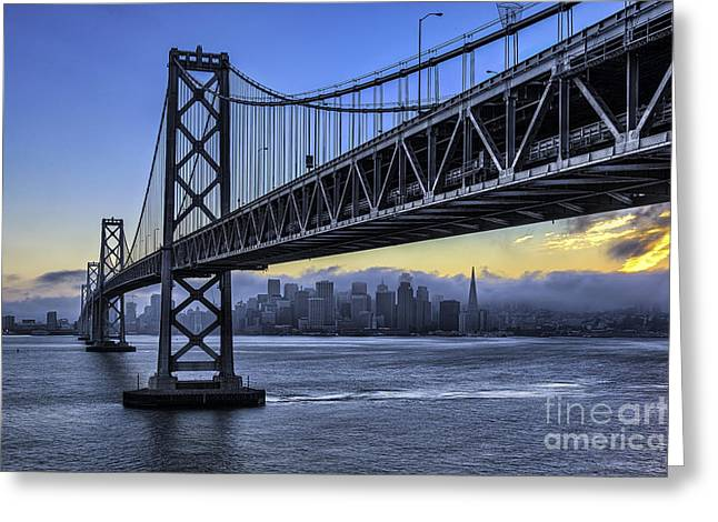 Mage Greeting Cards - City Skyline under the Bay Bridge Greeting Card by Peter Dang