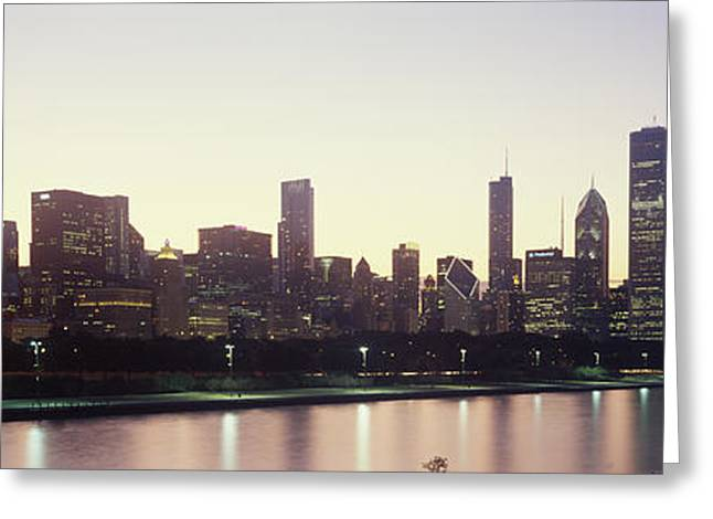 Lake Shore Drive Greeting Cards - City Skyline With Lake Michigan Greeting Card by Panoramic Images