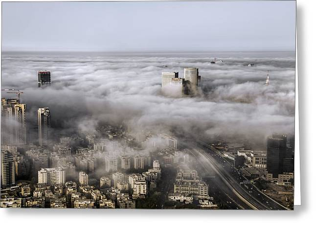 Miztvah Greeting Cards - City Skyscrapers Above The Clouds Greeting Card by Ron Shoshani