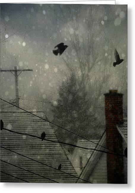 Telephone Wires Greeting Cards - City Snow Greeting Card by Gothicolors Donna Snyder