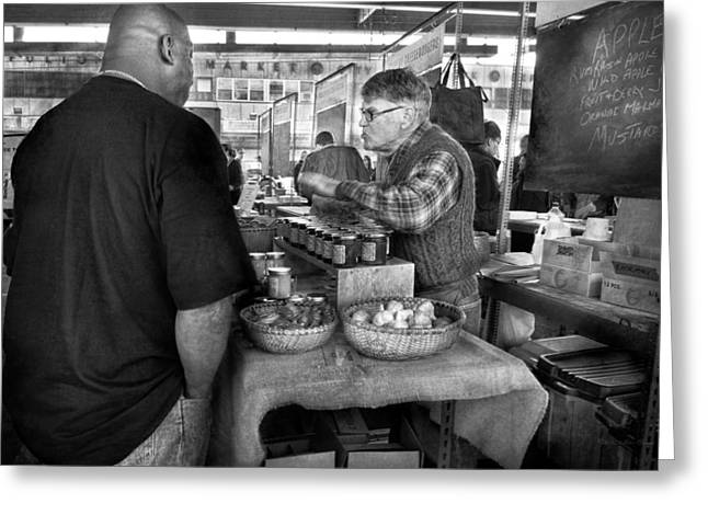 Talking Fish Greeting Cards - City - South Street Seaport - New Amsterdam Market - Apples and Mustard Greeting Card by Mike Savad
