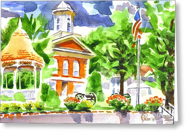 City And Colour Greeting Cards - City Square in Watercolor Greeting Card by Kip DeVore