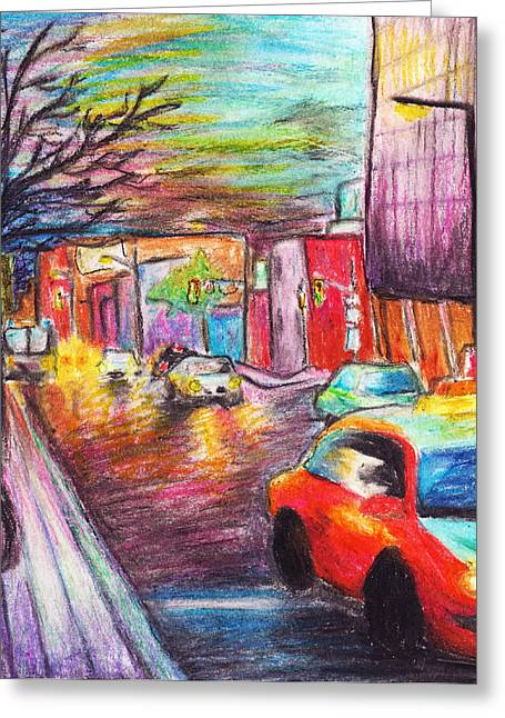 Downtown Pastels Greeting Cards - City Streets Greeting Card by Ashley King