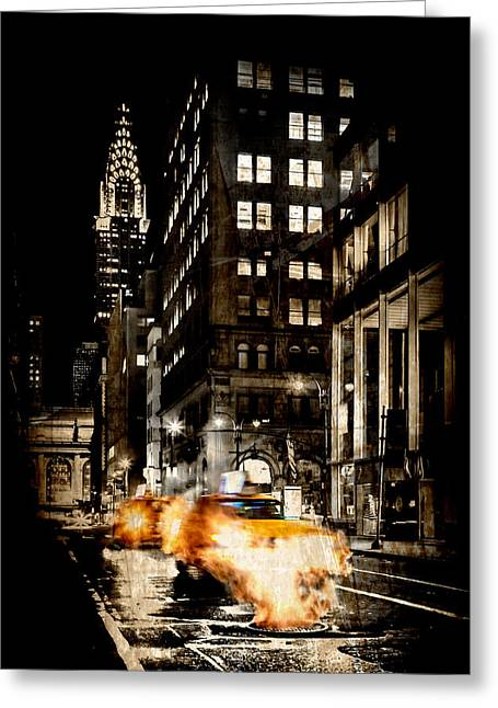 Cabs Greeting Cards - City Streets  Greeting Card by Az Jackson