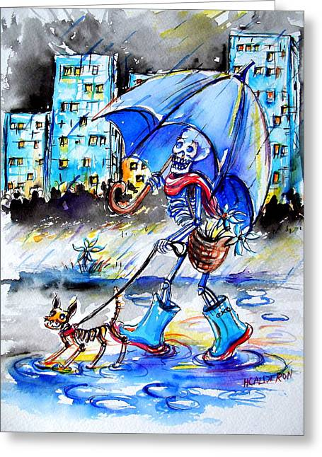 Dog Walking Greeting Cards - City Stroll Greeting Card by Heather Calderon