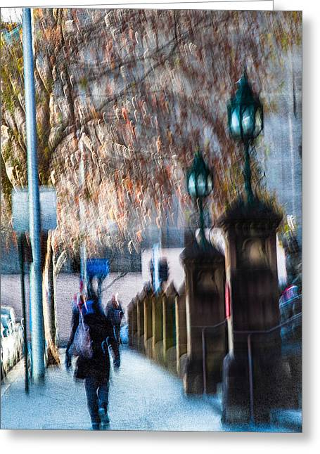 Impressionist Photography Greeting Cards - City  Stroller Greeting Card by Constance Fein Harding