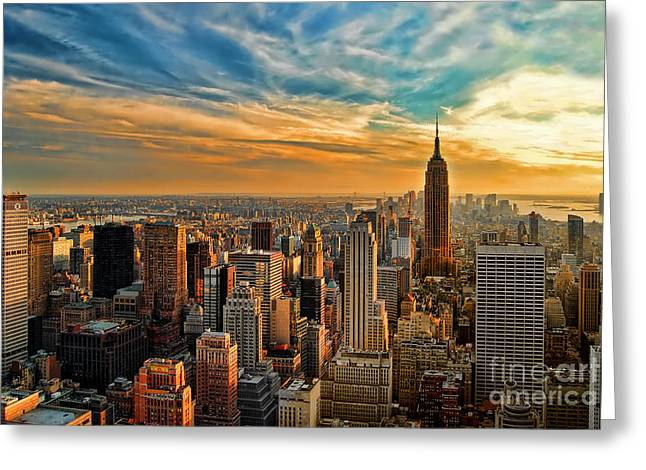 Liberty Greeting Cards - City Sunset New York City USA Greeting Card by Sabine Jacobs