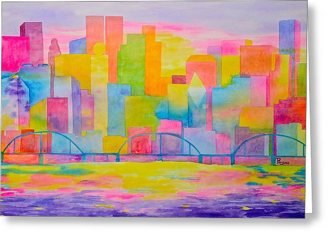City To Dye For Greeting Card by Rhonda Leonard