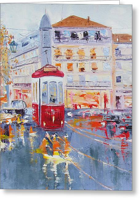 City Tram Or Street Car Greeting Card by Elena Nayman