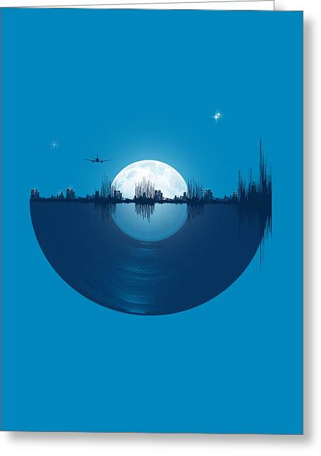 Blue Greeting Cards - City tunes Greeting Card by Neelanjana  Bandyopadhyay