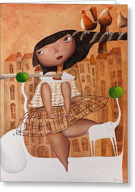 Girl And Animals Framed Prints Greeting Cards - City twist Greeting Card by Yelena Dyumin
