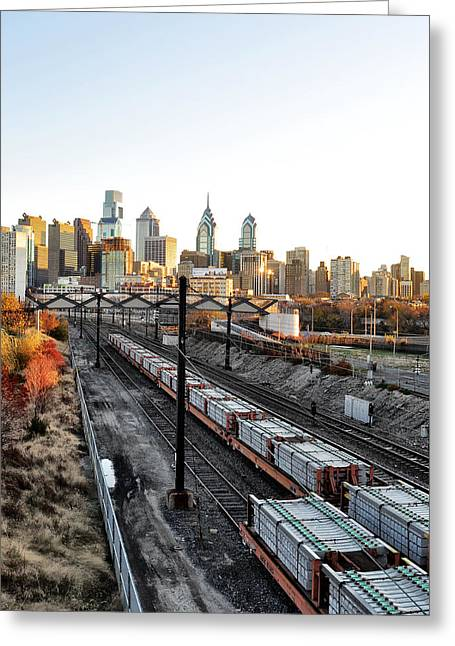 Phila Greeting Cards - City Up the Tracks Greeting Card by Bill Cannon