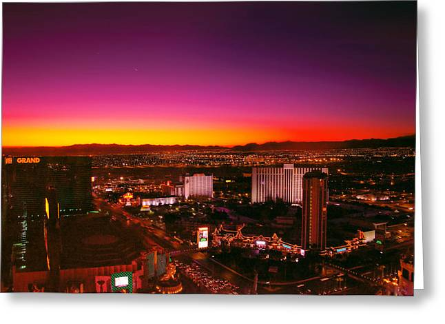 Night-scape Greeting Cards - City - Vegas - NY - Sunrise over the city Greeting Card by Mike Savad