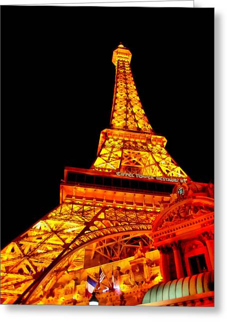 Hdr Look Greeting Cards - City - Vegas - Paris - Eiffel Tower Restaurant Greeting Card by Mike Savad