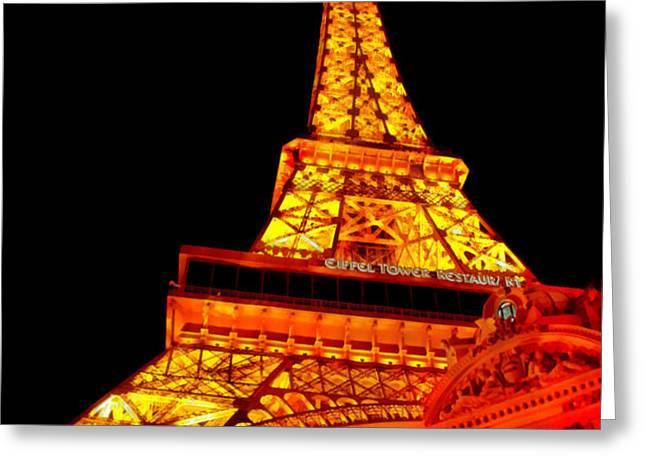City - Vegas - Paris - Eiffel Tower Restaurant Greeting Card by Mike Savad